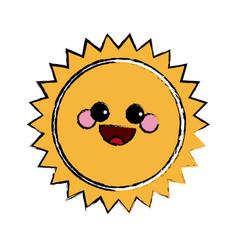 Summer sun kawaii character emoticon hot icon vector
