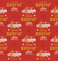 surfing car pattern vintage hand drawn surf wagon vector image
