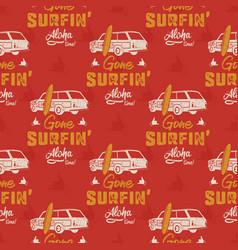 surfing car pattern vintage hand drawn surf wagon vector image