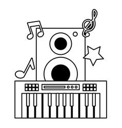 synthesizer speaker music festival on white vector image