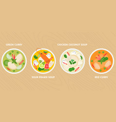 thai dish green curry vector image