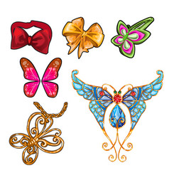 the set of objects on the theme of butterflies vector image