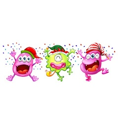 Three monsters wearing party hats vector