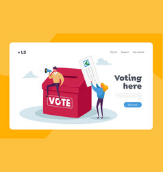 Tiny characters vote polling election or social vector