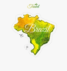 Travel around the world Brazil Watercolor map vector