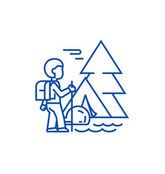 traveller in foresttourist hiking tent line icon vector image