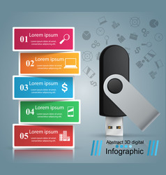 usb flash icon business infographic vector image