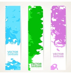 Vertical abstract handdrawing by ink banner set vector