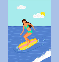 woman surfboarder riding on board in sea or ocean vector image