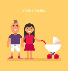Young family with a babby carriage stroller vector image