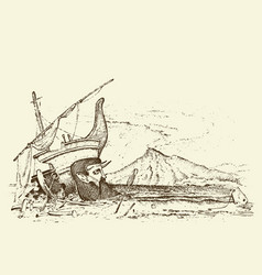 prehistoric seascape or ship archeology or vector image
