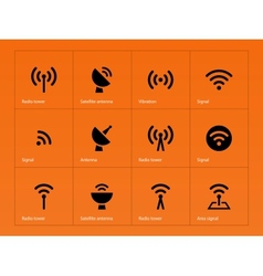Radio Tower icons on orange background vector image vector image