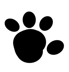 Black Rounded Paw Print vector image