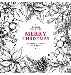 Christmas frame card hand drawn vector image vector image