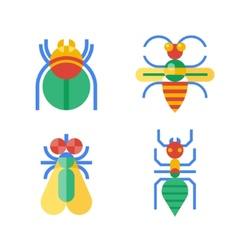 Four abstract colored insects vector image vector image