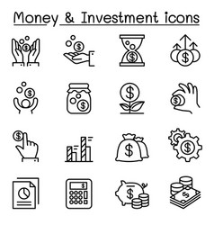 money investment icon set in thin line style vector image vector image