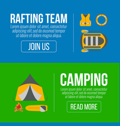 rafting and camping banners vector image vector image