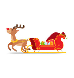 reindeer and christmas sleigh with presents vector image vector image