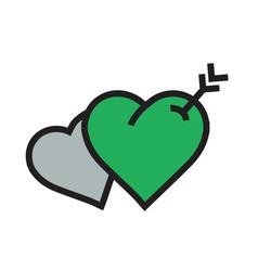 twins heart arrow icon green color vector image vector image