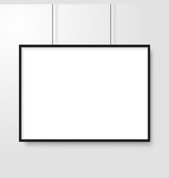 blank of picture frame hanging on grey background vector image