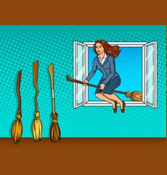 Girl flies on broom in window pop art vector