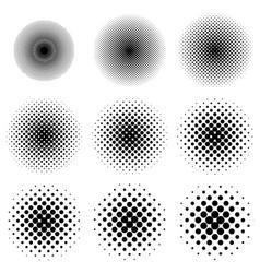 halftone circles set dot pattern halftone circles vector image vector image