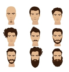 Man hair and beards styles Hipster fashion vector image