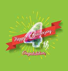 happy 4th anniversary glass bulb numbers set vector image