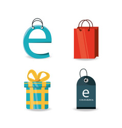 set shopping online to ecommerce marketing vector image vector image