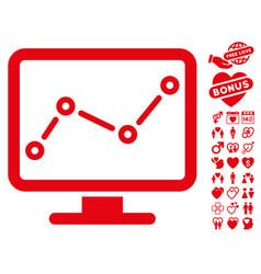 trend monitoring icon with valentine bonus vector image vector image