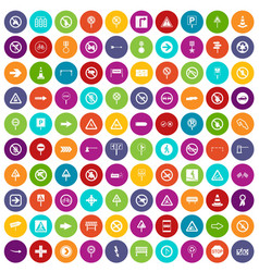 100 road signs icons set color vector