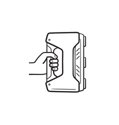 3d handheld scanner hand drawn outline doodle icon vector image