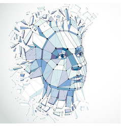 3d portrait created with lines mesh intelligence vector