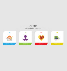 4 cute flat icons set isolated on infographic vector