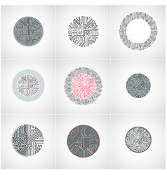 abstract computer circuit boards collection round vector image