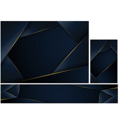 abstract polygonal dark blue background set vector image