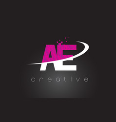 Ae a d creative letters design with white pink vector