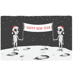 aliens congratulate us happy new year vector image