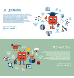 Artificial intelligence self learning icon set vector