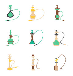 Assembly flat icons eastern smoke hookah vector