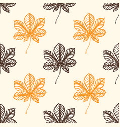 autumn pattern with chestnut leaves vector image