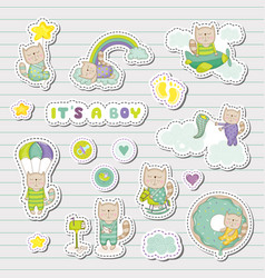 Baboy stickers patches for bashower party vector