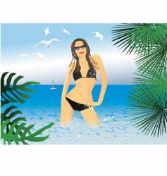 Bikini girl vector