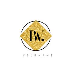 Bv letter logo with golden foil texture vector