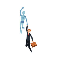 cartoon robot flying and carrying businessman by vector image