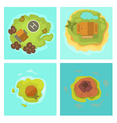 Cartoon tropical exotic island in ocean top view vector
