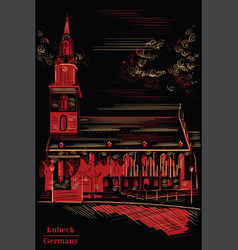 church st mary in berlin black and red vector image