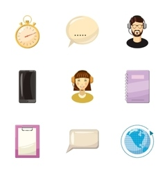 Client consultation icons set cartoon style vector