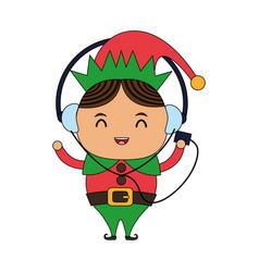 Color image cartoon full body christmas elf with vector