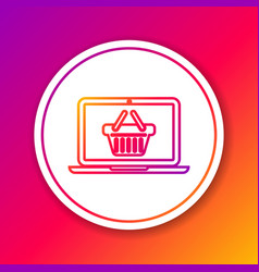 color shopping basket on screen laptop line icon vector image